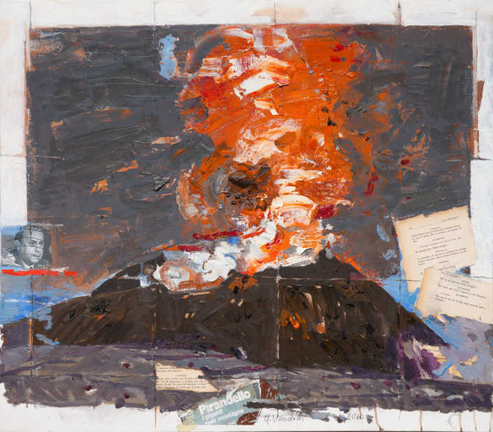 L'Etna - 2010 olio su tela e collage cm.80x70
