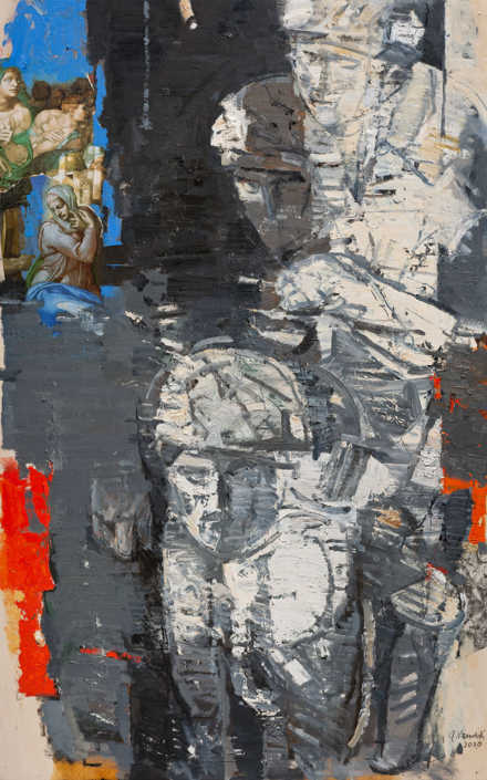 La pietà n°14 - 2010 olio su tavola e collage cm.73x117