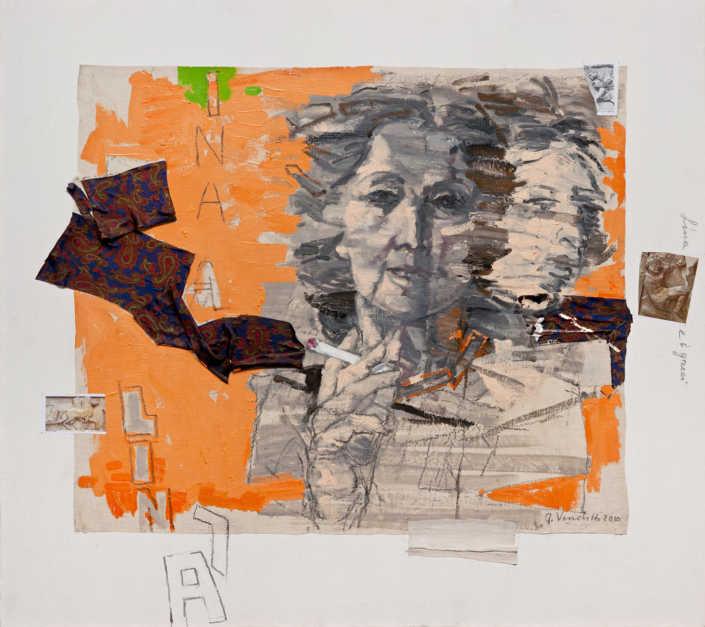 Lina e i greci - 2010 olio su tela e collage cm.90x80