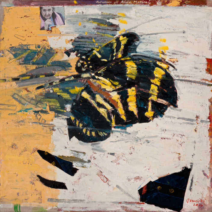 Omaggio ad Alda Merini n°2 - 2010 olio su tela e collage cm.80x80