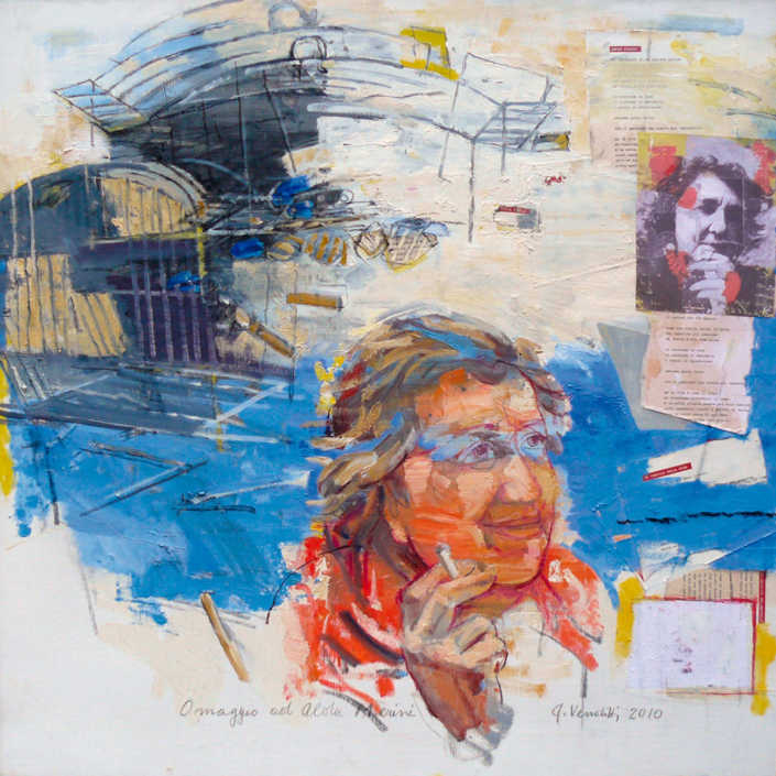 Omaggio ad Alda Merini n°1 - 2010 olio su tela e collage cm.80x80
