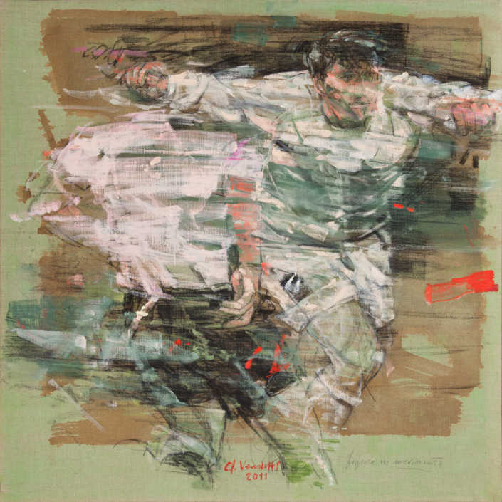 Figure in movimento - 2011 olio su tela cm.100x100
