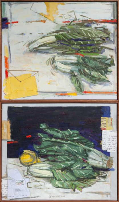 La bietola (dittico) - 2011 olio su tela e collage cm.56x93