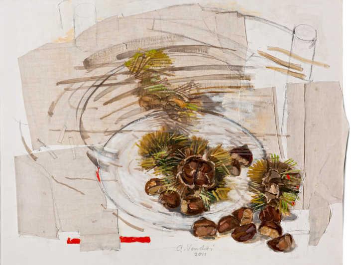 La prima brezza d'autunno - 2011 olio su tela e collage cm.80x62