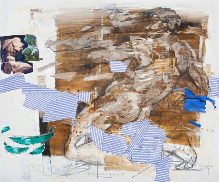 L'ignudo e il vento - 2011 olio su tela e collage cm.120x100