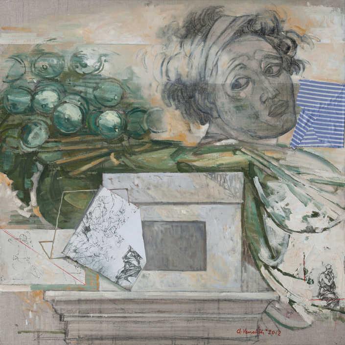 L'ignudo el a metafisica - 2012 olio su tela e collage cm.80x80