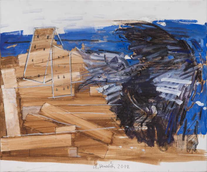 Ritorno dell'Ibis - 2012 olio su tela e collage cm.50x60