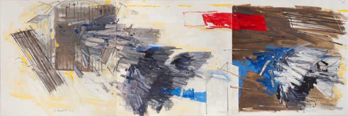 Verso lo spazio (trittico) - 2012 olio su tela cm.150x50