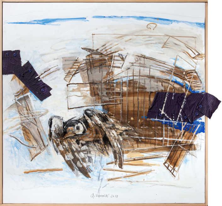 Fuori dalla gabbia - 2012 olio su tela e collage cm.80x80