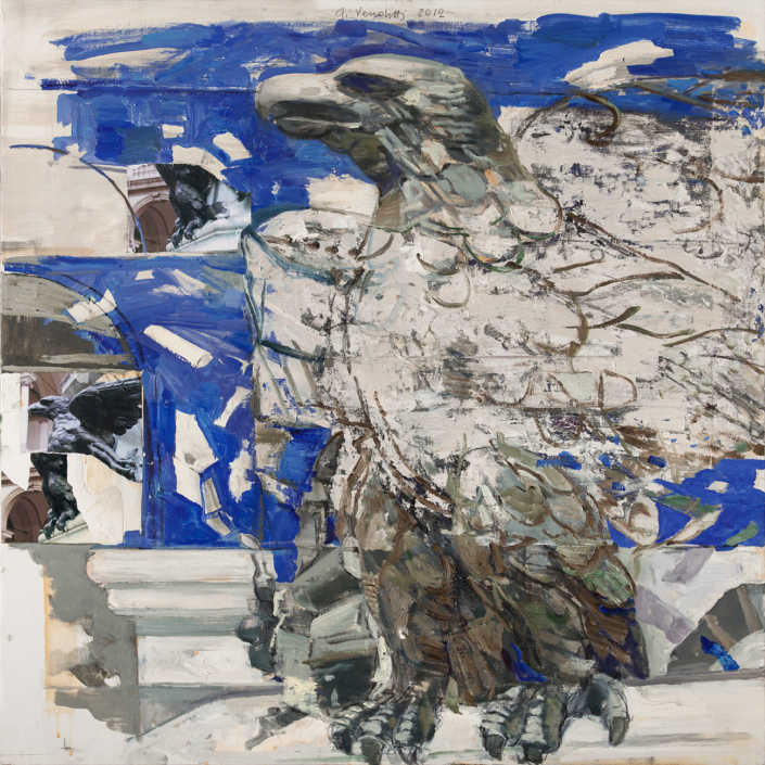 L'aquila del Canova n°5 - 2012 olio su tela e collage cm.80x80