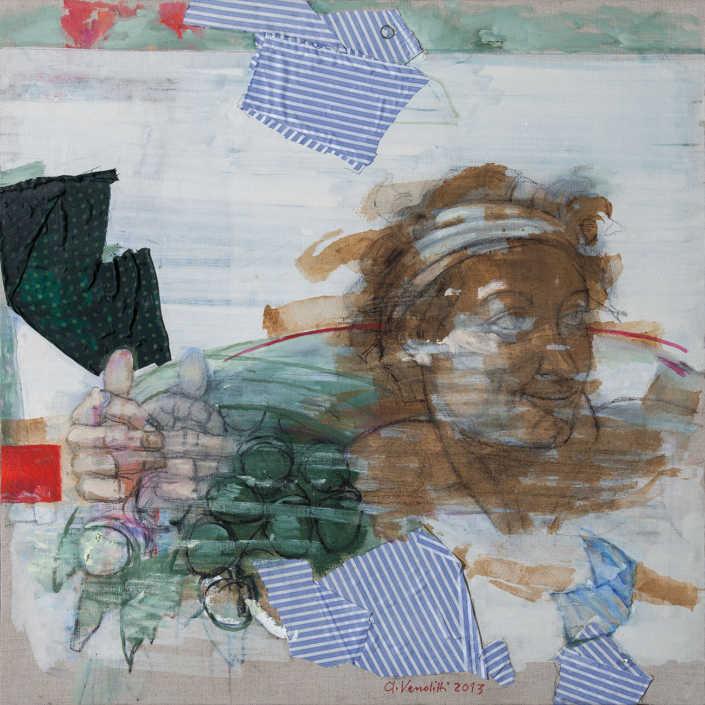 L'ignudo liberato - 2013 olio su tela e collage cm.80x80