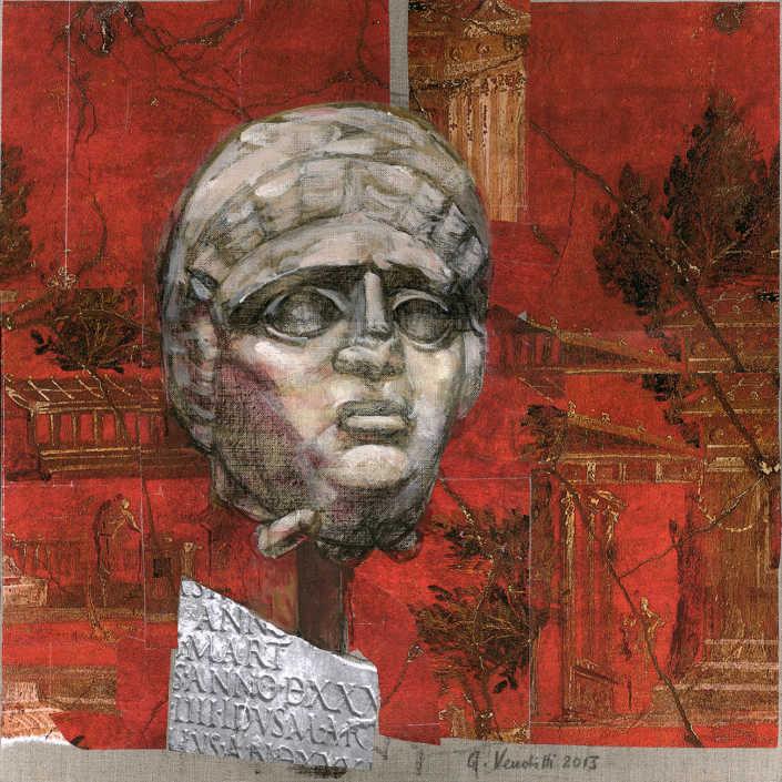 Mima - 2013 olio su tela e collage cm.50x50