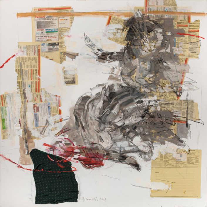 Composizione - 2013 olio su tela e collage cm.90x90