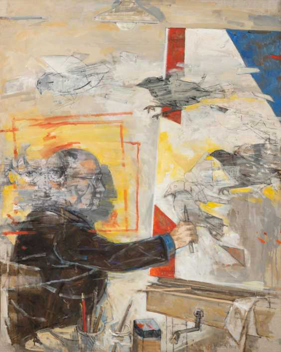 Autoritratto + Volo - 2015 olio su tela cm.80x100