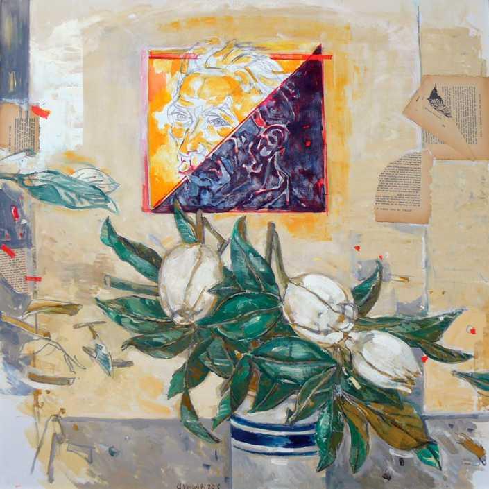 Vincent e i fiori - 2016 olio su tela e collage cm.80x80