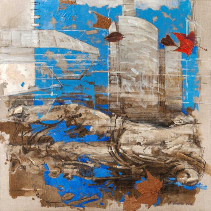 Reperto milanese - 2016 olio su tela e collage cm.80x80