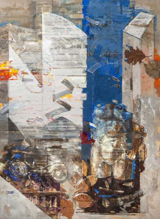Milano, reperti, tempo - 2017 olio su tela e collage cm.95x130
