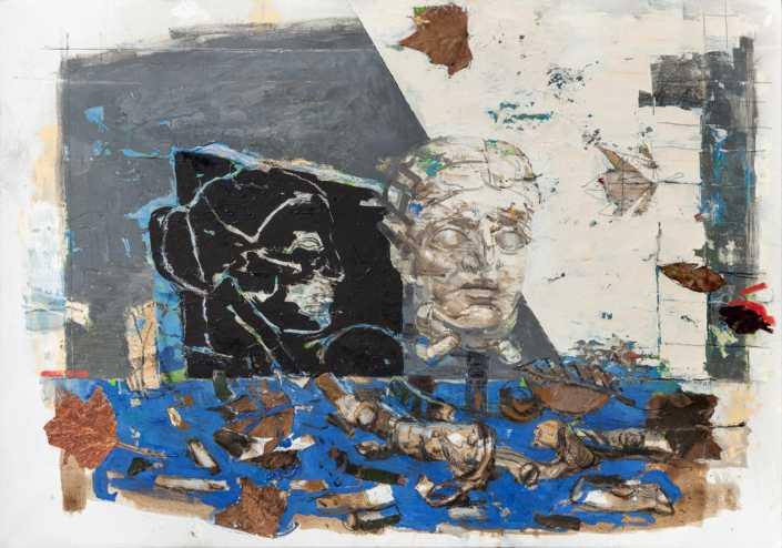 Milano, reperti, tempo - 2017 olio su tela e collage cm.100x70