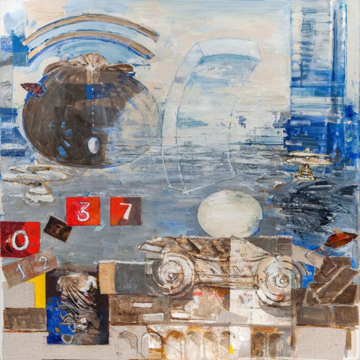 Milano, reperti, tempo - 2017 olio su tela e collage cm.80x80