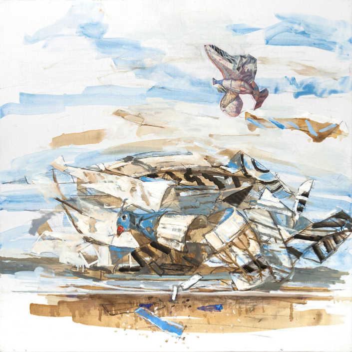 Il naufragio dell'aquilone - 2017 olio su tela e collage cm.80x80