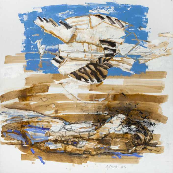 Il tronco e l'aquilone - 2017 olio su tela e collage cm.80x80