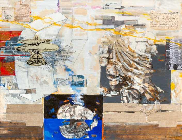 Milano e il sogno di Leonardo - 2019 olio su tavola e collage cm.67x87