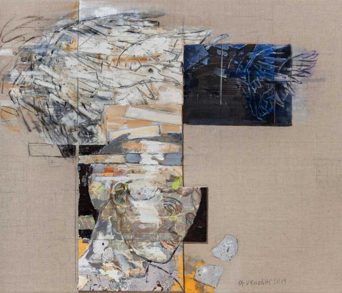 Reperto, tempo, volo - 2019 - olio su tela e collage cm.70x60