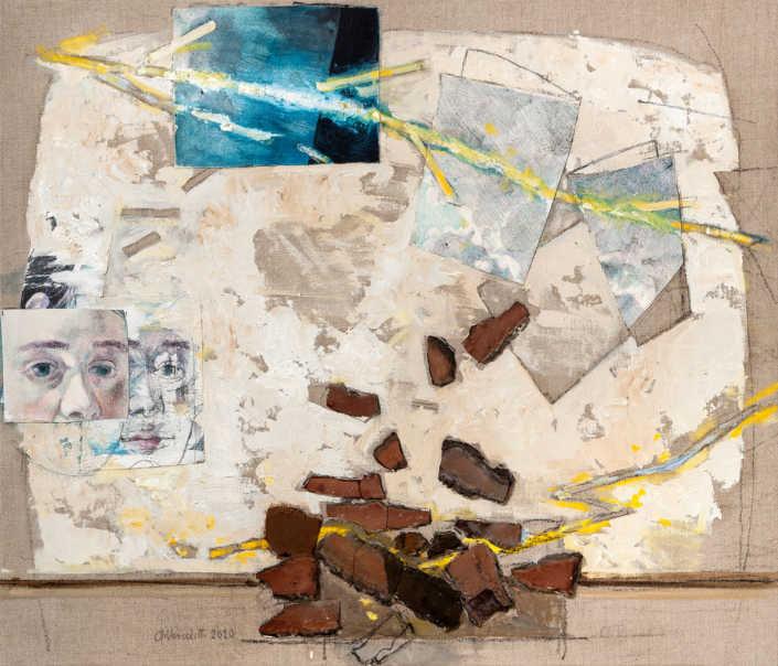 Aprile 2020, Lucia e il fulmine - 2020 - olio su tela e collage cm.70x60