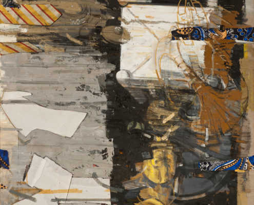 I tempi di caduta - 2001-2008 olio su tela e collage cm.90x100